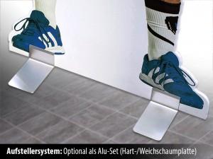Pappaufsteller mit eigenem Motiv und stabilen Alu-Füßen
