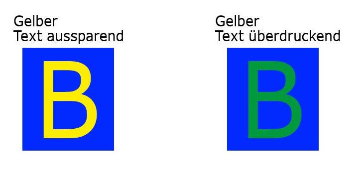 Überdrucken Einstellung bei Texten auf farbigem Untergrund